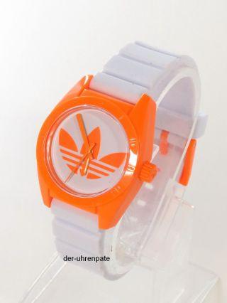 Adidas Herren / Damen Uhr Silikonband Weiß Orange Schmal Adh2851 Bild