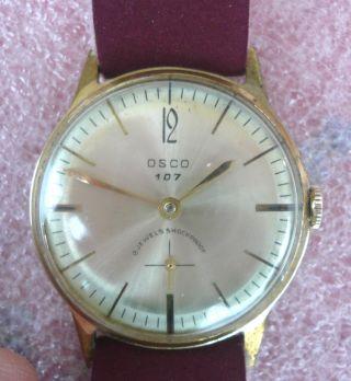 SchÖne Alte Osco 107 Armbanduhr - Art Deco Stil - Handaufzug - LÄuft Gut - Bild