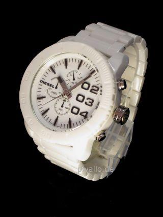 Diesel Herrenuhr / Herren Uhr Weiß Keramik (ceramic) Big Chronograph Dz4220 Bild