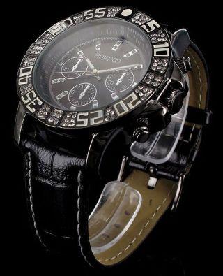 Schwarze Animoo Strass Stein Uhr Xxl Leder Armband (glanz Genarbt) Herrenuhr Bild