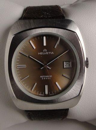 Vintage Armbanduhr Automatic Helvetia In Edelstahl Mit Datum – Cal.  Eta 2784 Bild