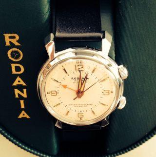 Rodania Alarm - Edelstahl - Cal.  As 1475 - Rare Vintage Wristwatch Bild