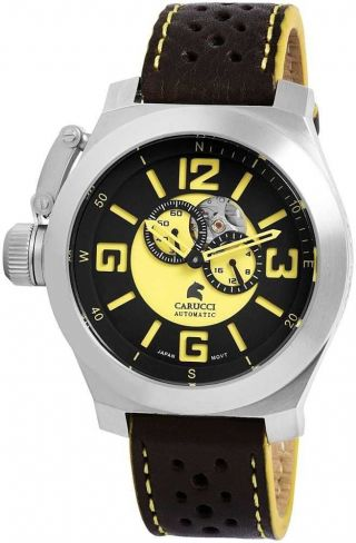 Carucci Automatikuhr Ca2175bk - Yl Herrenuhr Uhr Lederarmband Bild