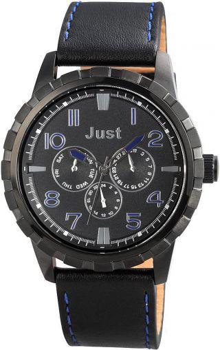 Just Chronograph Uhr Lederarmband Schwarz 48 - S4997bk - Bk Armbanduhr Bild