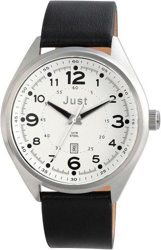 Just Uhr Herrenuhr 48 - S1231 - Wh Lederarmband Datum Armbanduhr Bild