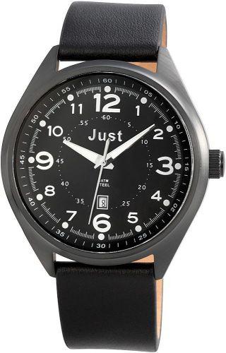 Just Uhr Herrenuhr 48 - S1231bk - Bk Lederarmband Uhr Schwarz Datum Bild