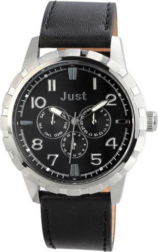 Just Chronograph Herrenuhr Armbanduhr Lederarmband Schwarz 48 - S4997 - Bk Bild