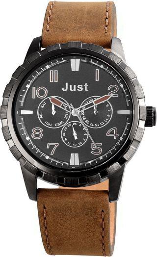 Just Chronograph Herrenuhr Lederarmband Braun Armbanduhr 48 - S4997bk - Br Bild