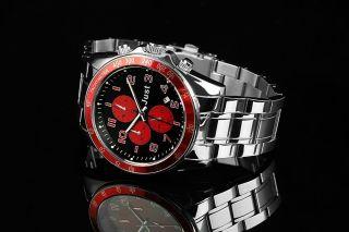 Just Uhr Chronograph Herrenuhr 48 - S1230 - Rd Armbanduhr Silber Rot Bild