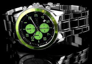 Just Uhr Chronograph Herrenuhr 48 - S1230 - Gr Armbanduhr Silber Grün Bild
