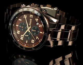 Just Uhr Chronograph Herrenuhr 48 - S1230 - Br Armbanduhr Edelstahl Braun Bild