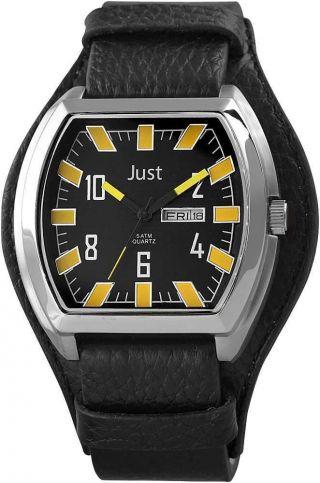 Just Uhr Herrenuhr 48 - S10180bk - Yl Unterlege - Armband Leder Schwarz Gelb Bild