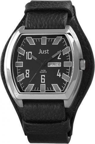 Just Uhr Herrenuhr 48 - S10180bk - Gr Unterlege - Armband Leder Schwarz Grau Bild
