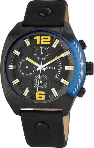 Just Herrenuhr 48 - S0235 - Bk Uhr Armbanduhr Lederarmband Schwarz Datum Bild