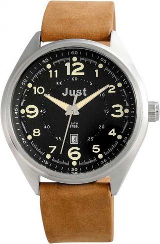 Just Herrenuhr Uhr Armbanduhr 48 - S1231 - Bk Hellbraun Schwarz Datum Bild
