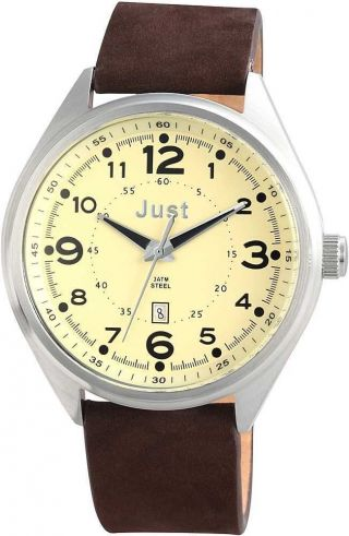 Just Herrenuhr Uhr 48 - S1231 - Be Braun Beige Datumsanzeige Bild