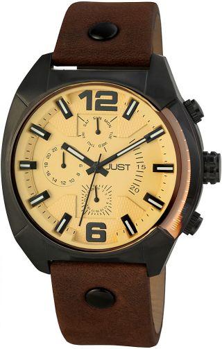 Just Herrenuhr 48 - S0235 - Br Uhr Armbanduhr Lederarmband Braun Datum Bild