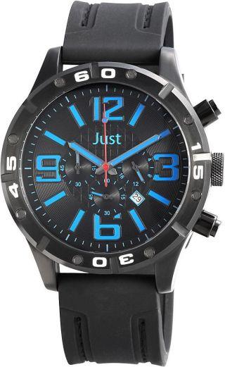 Just Chronograph Herrenuhr Schwarz Blau 48 - S3978 - Bk - Bl Armbanduhr Bild