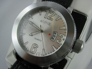 Animoo Herrenuhr Xl Datum Armbanduhr Echt Leder Bild