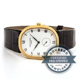 Patek Philippe Ellipse Uhr 3989j 18kt Gelbgold Manuell Aufziehen Neues Armband Bild