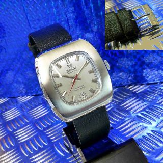 LÄssig Echte 70èr Vintage Top Precimax Fassform Edelstahl Automat Day Armbanduhr Bild