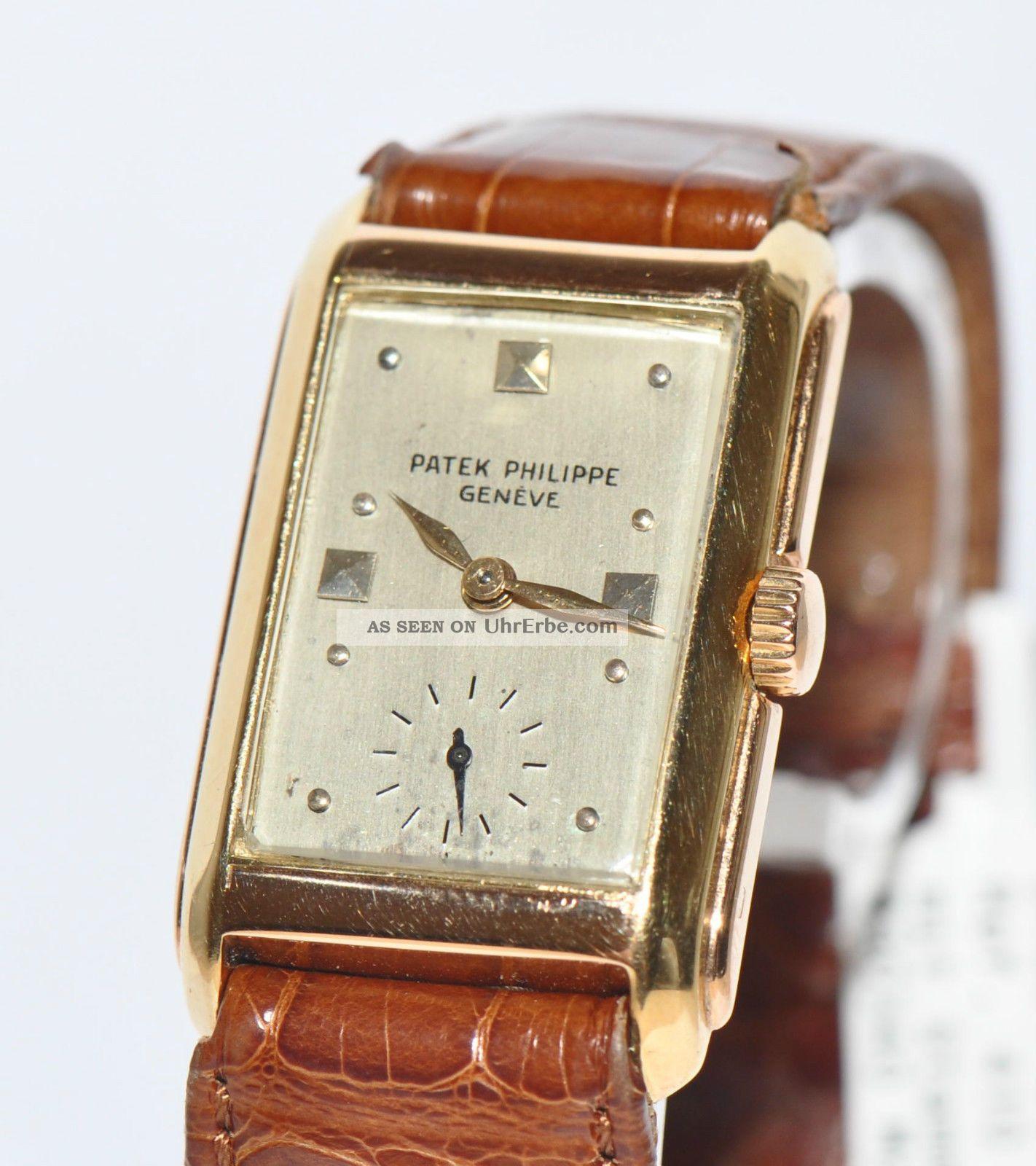 patek philippe wristwatch ref 410 18kt gelbgold uhr 1934. Black Bedroom Furniture Sets. Home Design Ideas