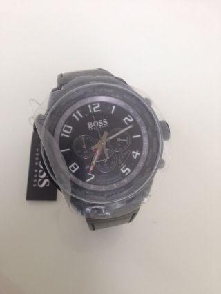 Herren Armbanduhr Hugo Boss Schwarz Leder Chronograph Hb 1512740 Bild