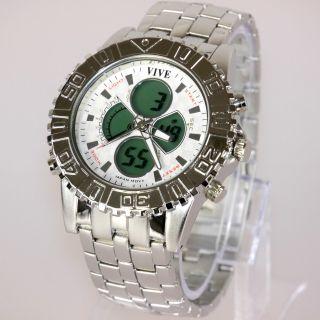 Herren Vive Xxl Armband Uhr Edelstahl Silber Watch Analog Digital Quarz 13 Bild