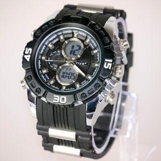 Herren Vive Armband Uhr Hartplastik Schwarz Watch Analog Digital Quarz 77 Bild