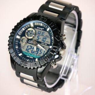 Herren Vive Armband Uhr Hartplastik Schwarz Watch Analog Digital Dualtime Bild