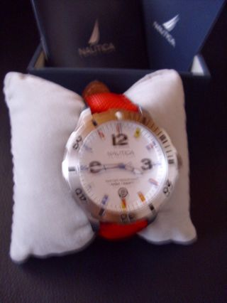 Nautica Herren - Armbanduhr Analog Leder Rot A12567g Bild