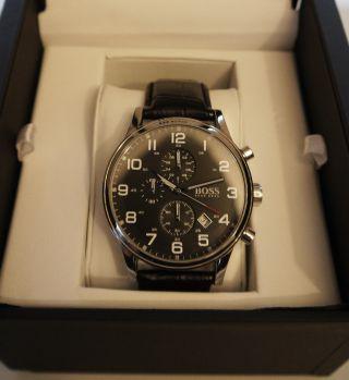 Hugo Boss Herren - Uhr Chronograph 1512448 Silber/schwarz Lederarmband Bild