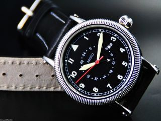Aristo 4h106 Herren Uhr Quartz Fliegeruhr Stahl Mit Leder Armband Datumsanzeige Bild