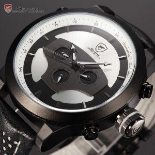 U Shark Herren Quarzuhr Analog Datums Dual Zeitzone Leder Armbanduhr Weiss Bild