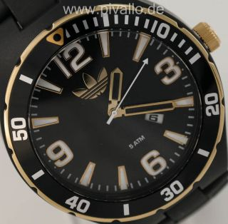 Adidas Melbourne Herrenuhr / Herren Uhr Schwarz Gold Datum Adh2605 Bild