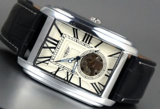 Automatik Edel Herrenuhr Mechanisch Schwarze Leder Armband Geschenke Box2 Bild