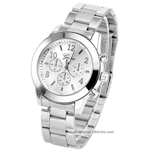 Geneva Edelstahl Uhr Quarzuhr Armbanduhr Damen Herrenuhr Analog Unisex Elegant Armbanduhren Bild