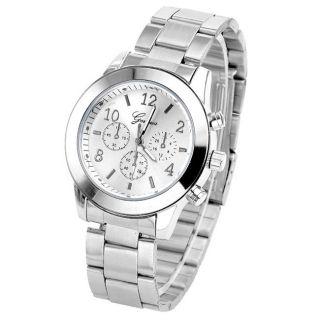 Geneva Edelstahl Uhr Quarzuhr Armbanduhr Damen Herrenuhr Analog Unisex Elegant Bild