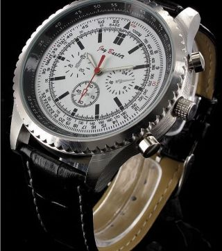 Herren Armbanduhr Chrono - Look Leder Armband Lederuhr Quartzuhr Nickelfrei 5401 Bild