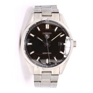 Tag Heuer Carrera Stahl Automatik Uhr Schwarzes Zifferblatt Armband Bild
