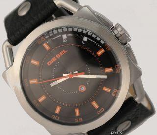 Diesel Herrenuhr / Herren Uhr Schwarz Orange Datum Leder Dz1578 Bild