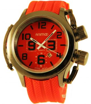 Schwere Animoo U - Boot Watch In Rot Kautschuk Herrenuhr Analog Xxxl Bild