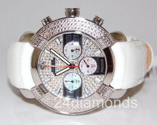 Diamant - Chronograph Für Herren Aqua Master,  Rund,  Fliesen - Design,  Weißes Leder Bild