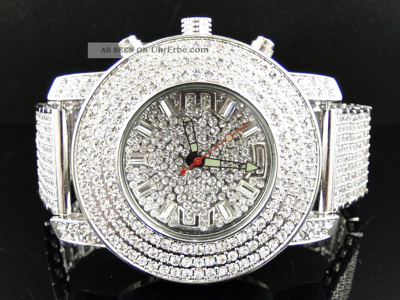 Kc Joe Rodeo Techno Iced Out Herren Weiss Goldende Diamant Uhren