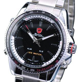 Shark Led Digital Datumsanzeige Herren Quarzuhr Edelstahl Armband Armbanduhr Bild