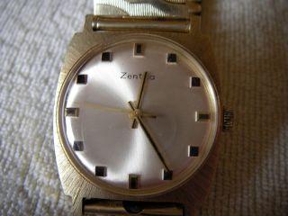 Herrenuhr Zentra 14 K Mit 585 Elastofix Armband,  Mechanisch,  Vintage Bild