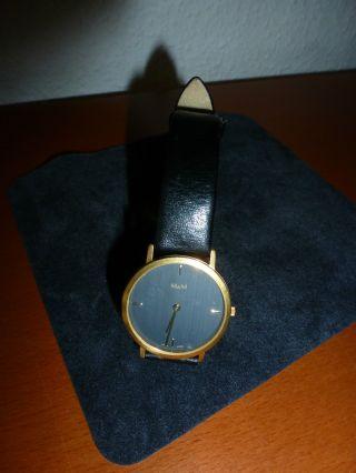 M & M Damen Herren Armbanduhr - Lederband - Wneu Bild