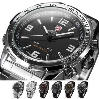 U Shark Led Anolog Digital Uhr Herren Quarzuhr Edelstahl Armbanduhr 6 Farben Bild