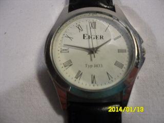 Herren Armbanduhr Edelstahl Armband Leder Ziffernblatt Weiss Bild
