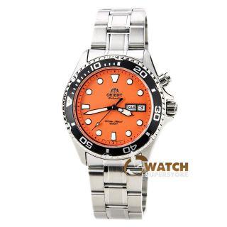 Armbanduhr Herren Orient Em6500am Oranges Ziffernblatt Automatisch Edelstahl Bild